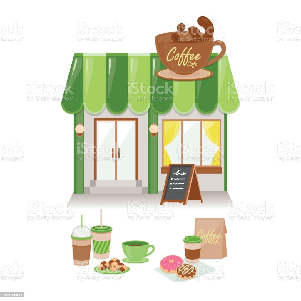 Coffee Cafe. Vector illustration in flat style.