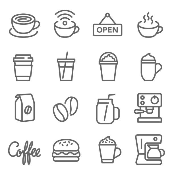 咖啡咖啡廳向量線圖示集。包含熱咖啡、豆子、咖啡機、漢堡等圖示。擴展筆劃 - cafe 幅插畫檔、美工圖案、卡通及圖標