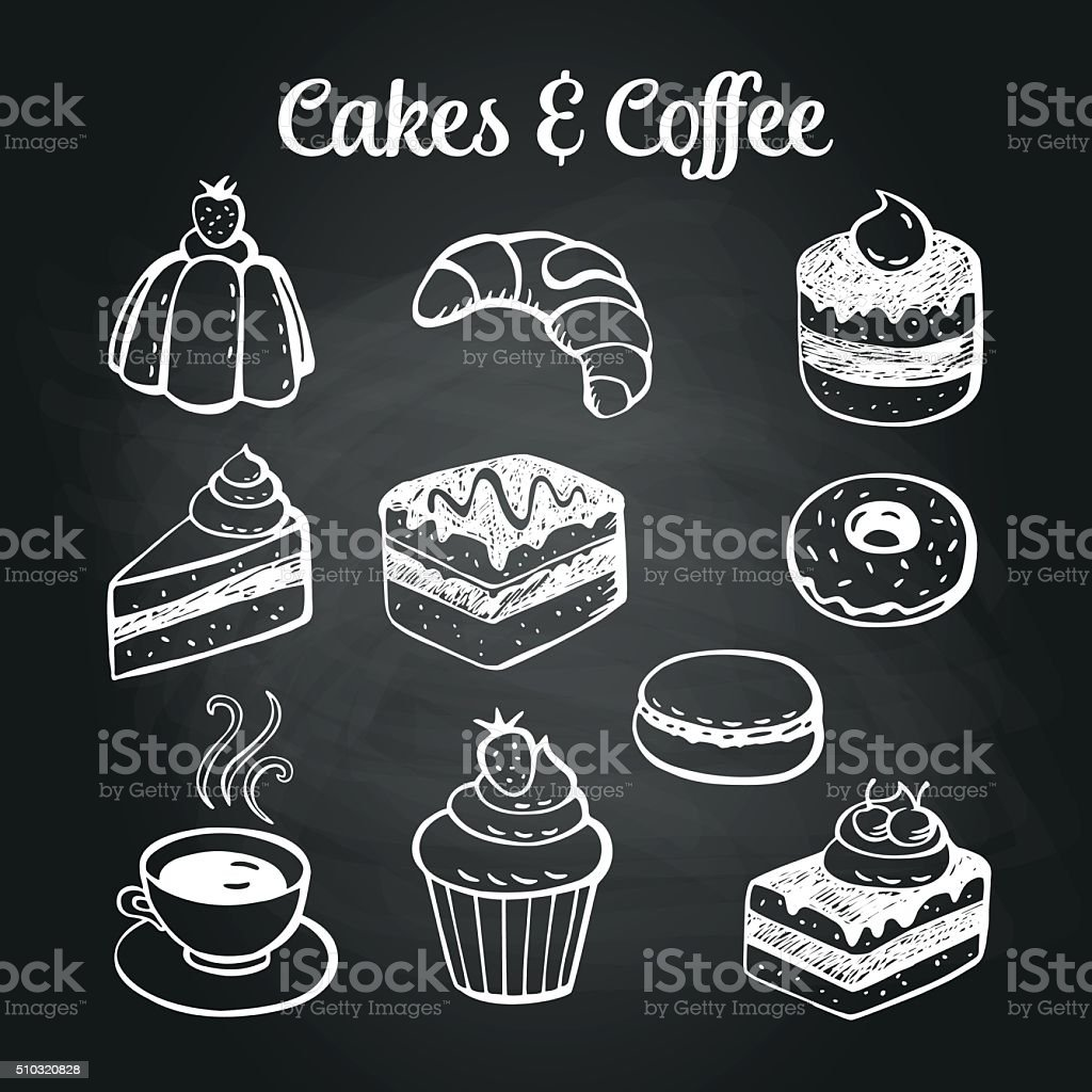 Coffee & Cakes Chalkboard vector art illustration