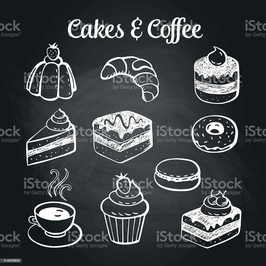Café tortas Pizarra & - ilustración de arte vectorial