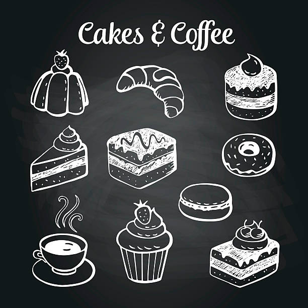 Coffee & Cakes Chalkboard Coffee and desserts doodles on a chalkboard. Can be used as menu board for restaurant or bars. cake drawings stock illustrations