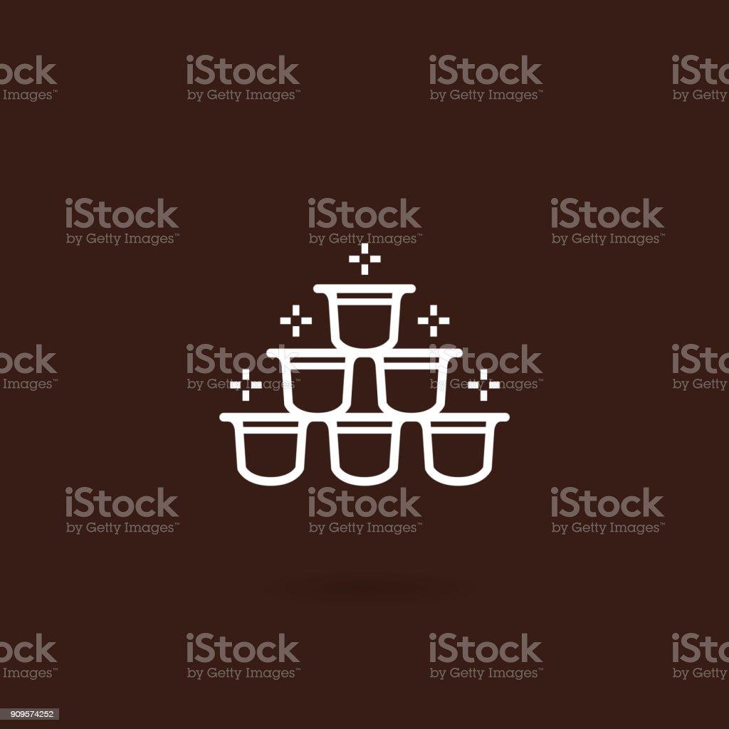 Icono de cápsula café con fondo marrón - ilustración de arte vectorial