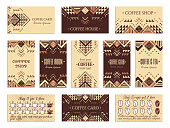 Visit card design set with loyalty program for coffee shops, tea houses and rooms in African style. Vertical, horizontal layouts. Ethnic design ornament. EPS 10 vector template drink collection.