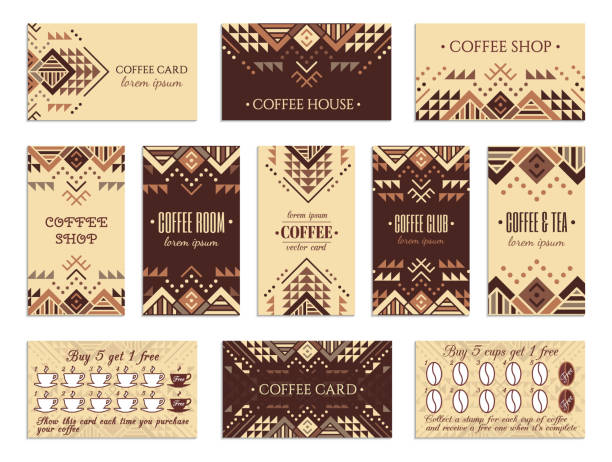 Coffee cards Visit card design set with loyalty program for coffee shops, tea houses and rooms in African style. Vertical, horizontal layouts. Ethnic design ornament. EPS 10 vector template drink collection. indigenous culture stock illustrations