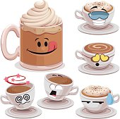 Cartoon coffee set including: