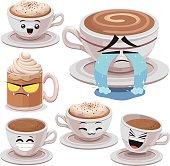 Cartoon coffee set including: