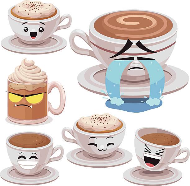 ilustraciones, imágenes clip art, dibujos animados e iconos de stock de café historieta conjunto b - lágrimas de emoji alegre