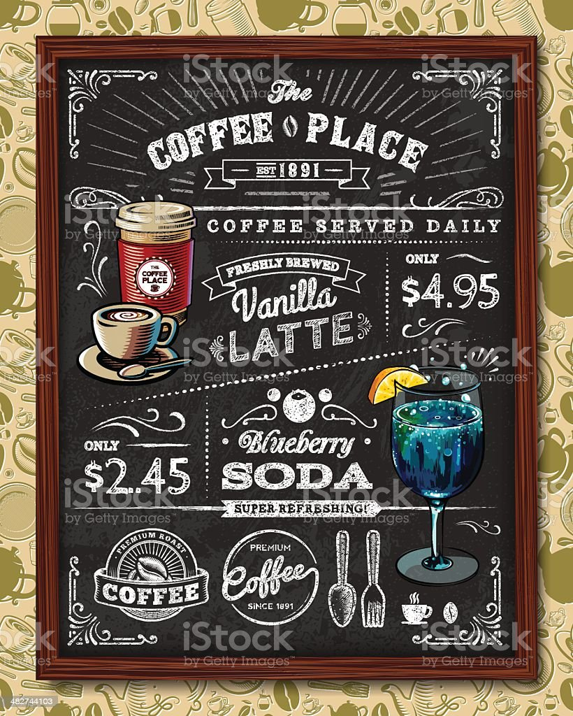 Coffee Chalkboard Elements vector art illustration