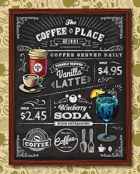 coffee chalkboard elements - coffee stock illustrations, clip art, cartoons, & icons