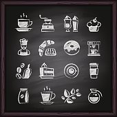 Icon set coffee and cafe shop sketches, lettering symbols and logos on a chalkboard background.