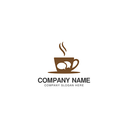 Coffee Chat logo design vector template