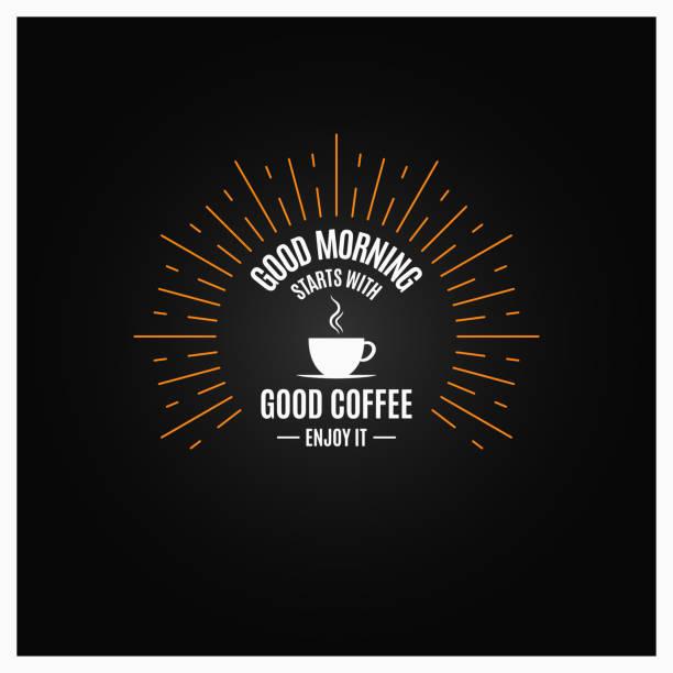 kaffee. kaffee-obertasse vinge beschriftung auf schwarzem hintergrund - café stock-grafiken, -clipart, -cartoons und -symbole
