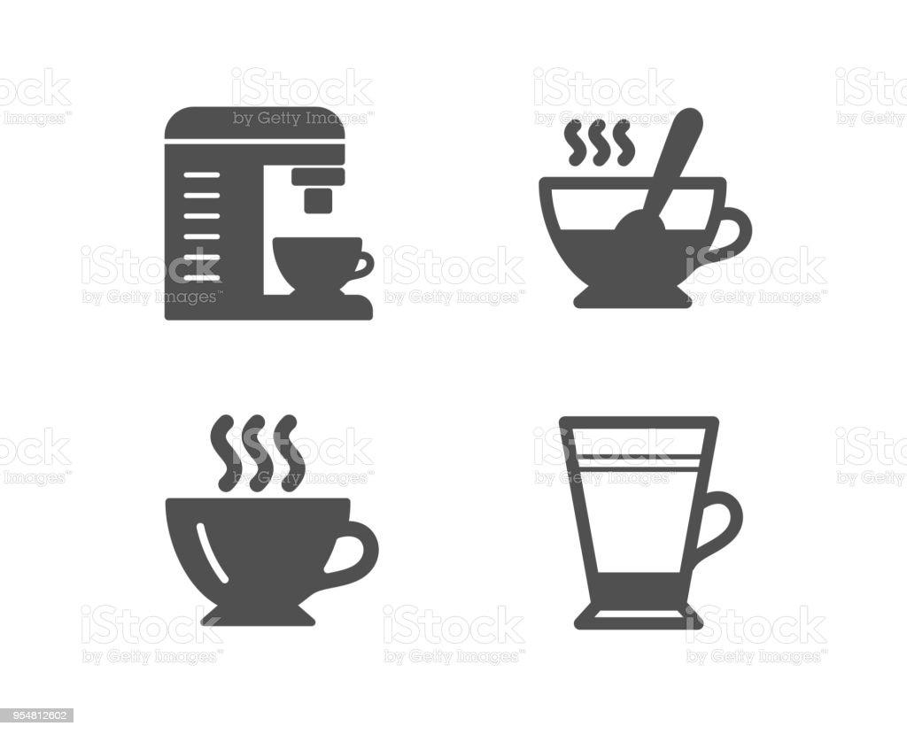Ilustración de Los Iconos La Taza De Café Máquina De Café Y Té Signo ...
