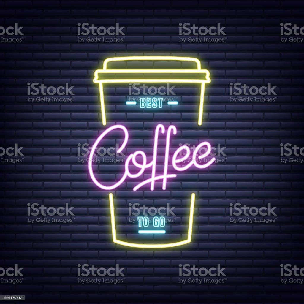 Coffee. Coffee neon sign. Neon glowing signboard banner design - ilustração de arte vetorial
