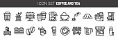 Coffee, coffee shop. tea line icon set. vector icon suitable for websites, info graphics and print media.