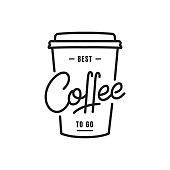 Coffee. Coffee to go lettering illustration. Coffee label badge emblem.