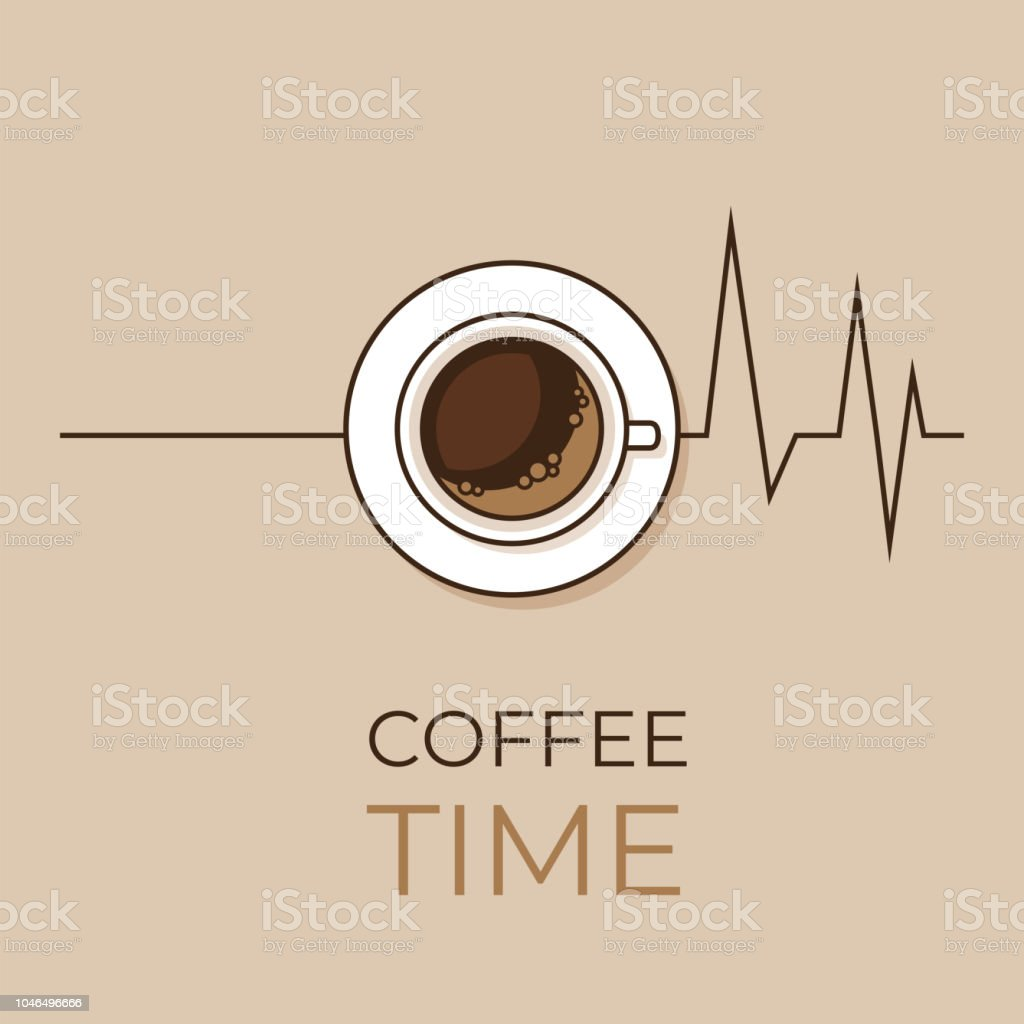 Coffee concept. Coffee and heartbeat  poster. Flat style, vector illustration. vector art illustration