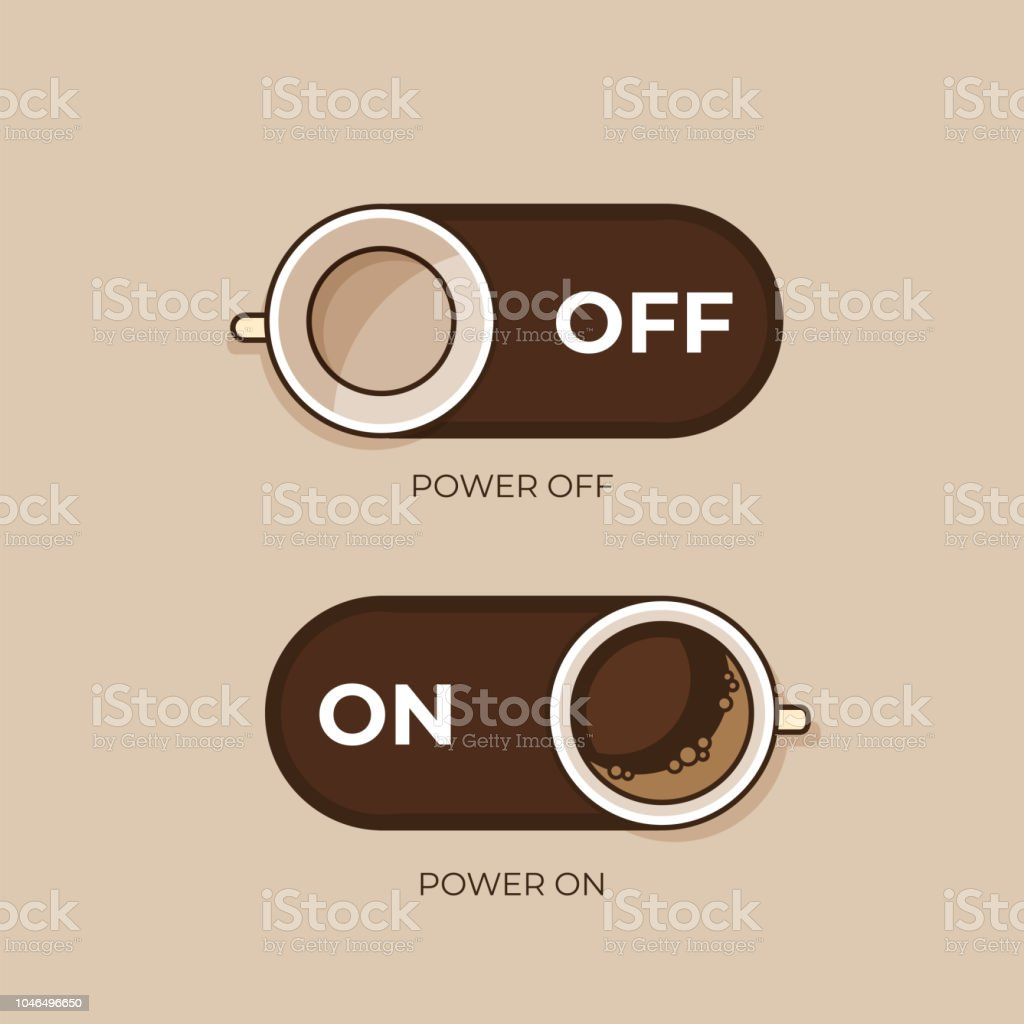 Coffee concept. Coffee and on off switch. Flat style, vector illustration. vector art illustration