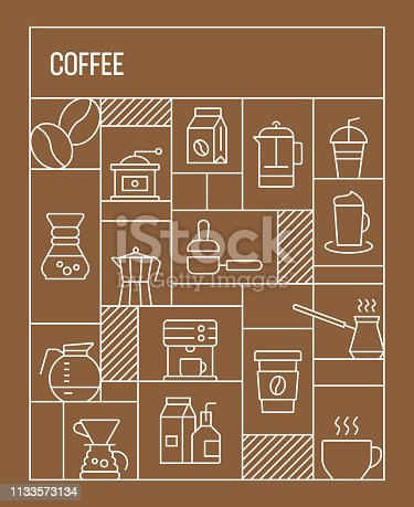Coffee Concept. Geometric Retro Style Banner and Poster Concept with Coffee Line Icons