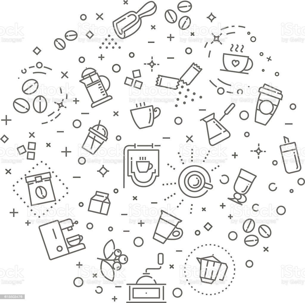 Coffee concept illustration, outline design vector template - Royalty-free Açúcar arte vetorial