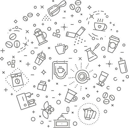 Coffee Concept Illustration Outline Design Vector Template - Arte vetorial de stock e mais imagens de Açúcar
