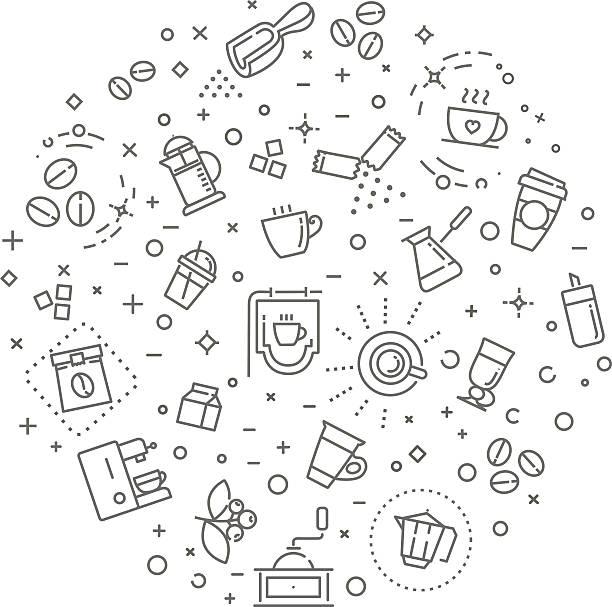 ilustrações de stock, clip art, desenhos animados e ícones de coffee concept illustration, outline design vector template - café solúvel