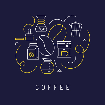 Coffee Concept, Modern Line Art Icons Background. Linear Style Vector Illustration.