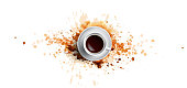 istock Coffee concept on white background - white coffee cup, top view with watercolor coffee splashes. Hand draw and watercolor coffee illustration with beautiful art splashes 1142929902