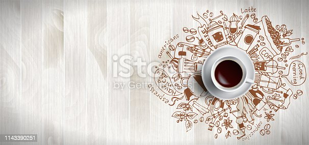 Coffee concept on wooden background - white coffee cup, top view with doodle illustration about coffee, beans, morning, espresso in cafe, breakfast. Morning coffee vector illustration. Hand draw and coffee illustration