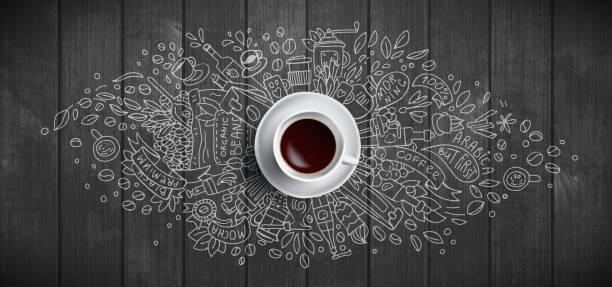 나무 배경에 커피 개념 - 흰색 커피 컵, 커피, 콩, 아침, 카페에서 에스프레소, 아침 식사에 대한 낙서 그림상단. 아침 커피 벡터 그림입니다. 핸드 드로우 및 커피 일러스트레이션 - coffee stock illustrations
