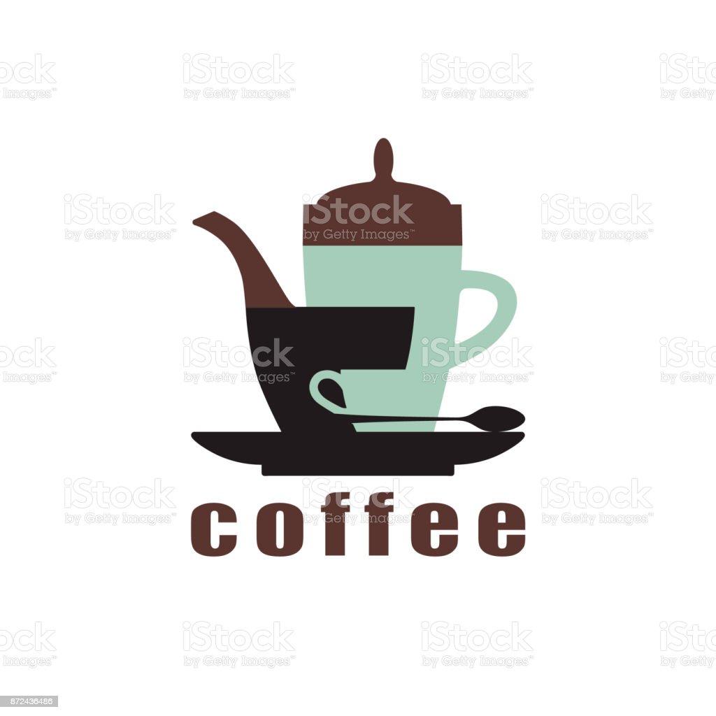 Conceito de café. O design das silhuetas de xícaras, bule de café, Pires e colher. Ícone para uma casa de café, café, loja. Ilustração em vetor. - ilustração de arte em vetor