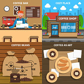 Coffee shop 4 flat icons square composition conceptual poster at cozy art design cafe abstract isolated illustration vector