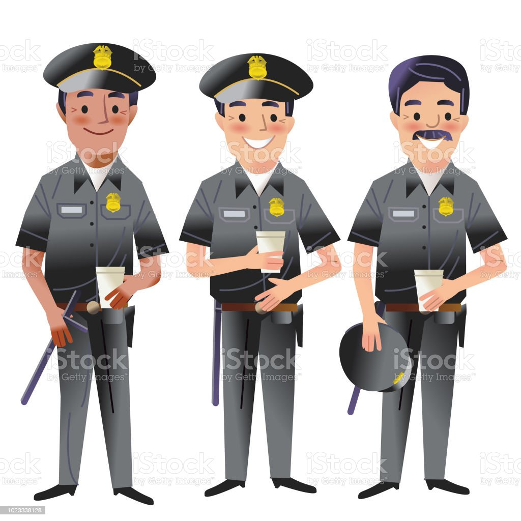 Coffee Cops vector art illustration