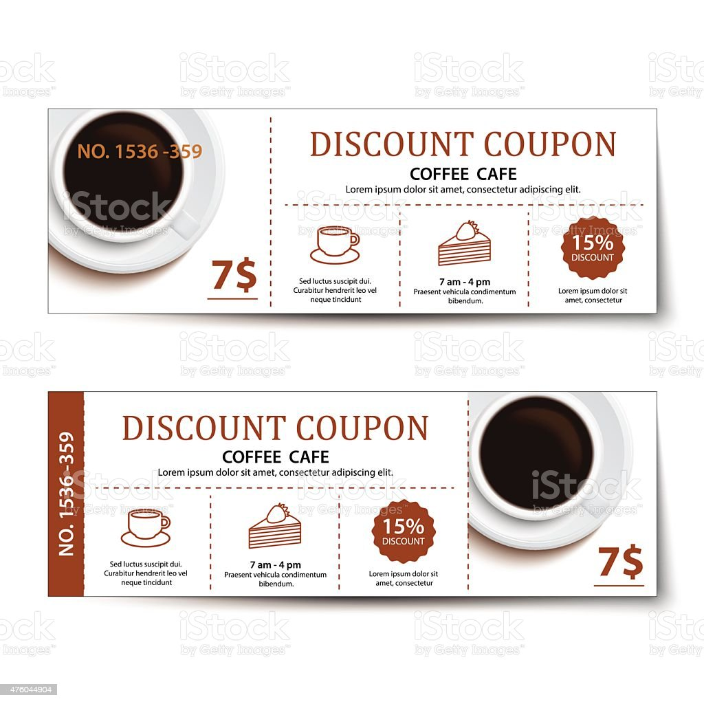 coffee coupon discount  template design. vector art illustration