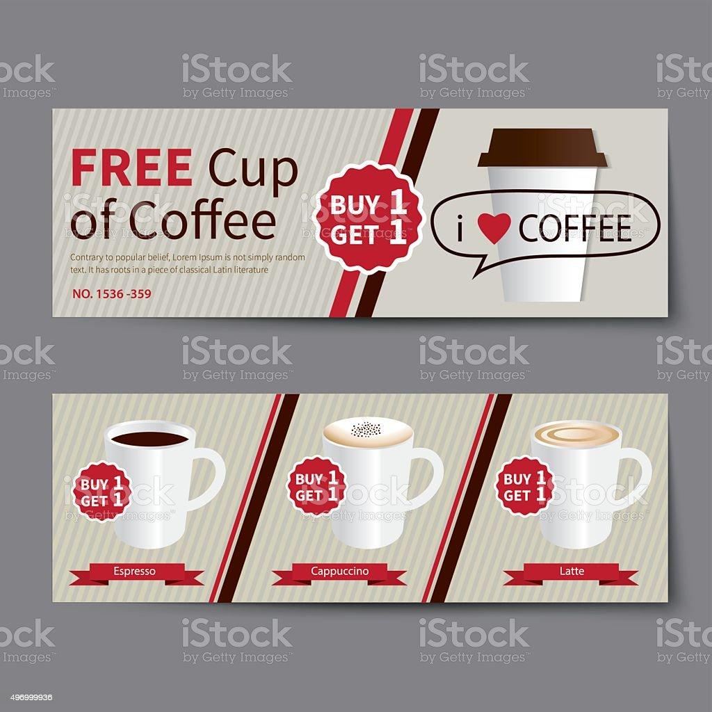 Coffee Coupon Discount Template Flat Design Stock Vector Art & More ...