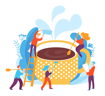 Coffee creating vector cobcept art with coffe cup and people