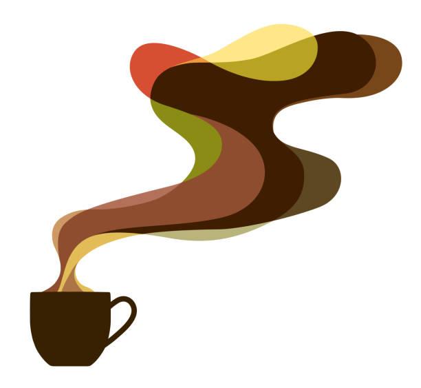ilustrações de stock, clip art, desenhos animados e ícones de coffee cup and aroma image - pausa para café