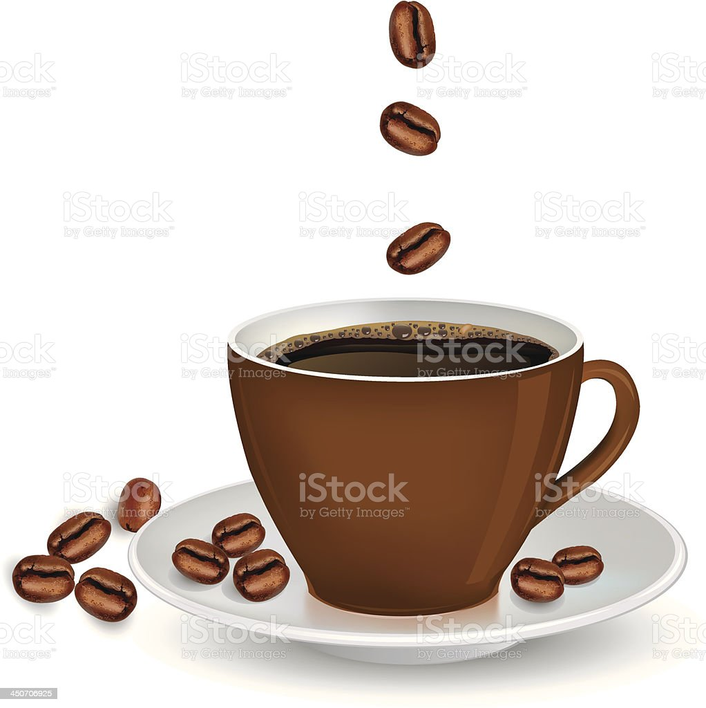 Coffee cup and beans royalty-free stock vector art