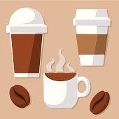 Vector illustration of coffee cup and beans. EPS10, AI CS, high res jpeg included.