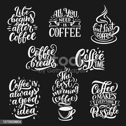 istock Coffee cup and beans vector lettering 1075509904