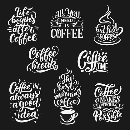 Coffee cup and beans vector lettering