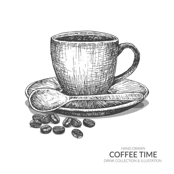 ilustrações de stock, clip art, desenhos animados e ícones de coffee cup and beans with spoon. coffee break in morning time. vintage hand drawn black and white drink collection. isolated vector elements. - café solúvel