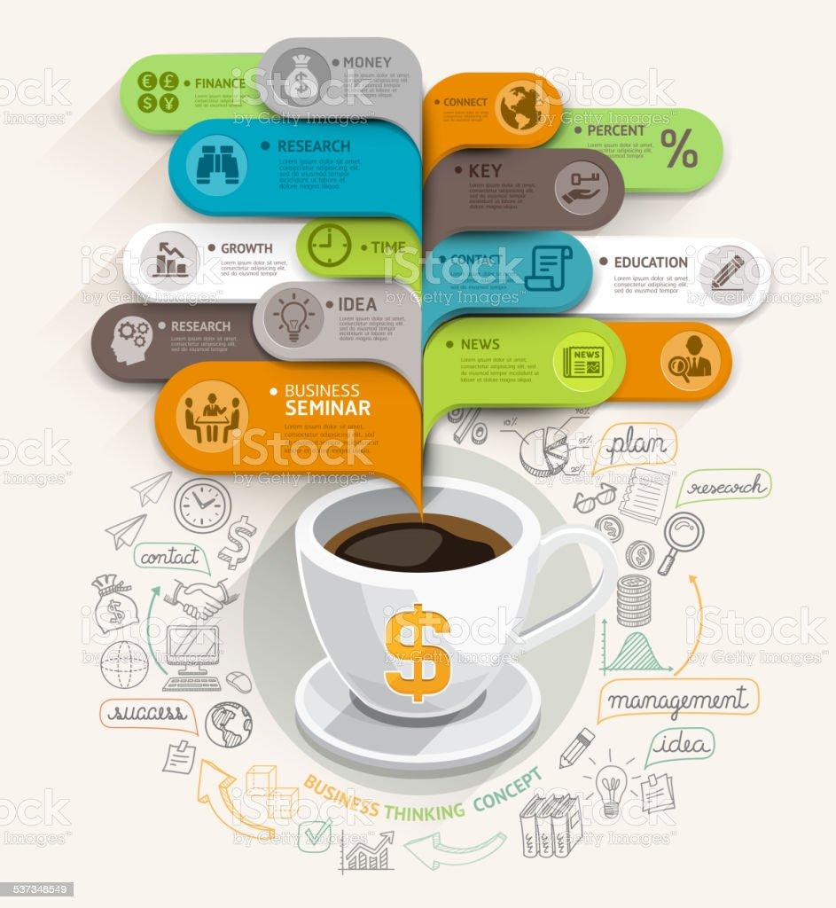 Kaffeetasse und Blase Rede Vorlage. – Vektorgrafik