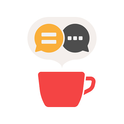 Coffee Cup and Chat Speech Bubble Icon Vector Design.