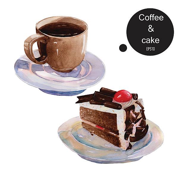 kaffee tasse kaffee und schokolade kuchen dessert aquarell hand bremse zeit - tassenkuchen stock-grafiken, -clipart, -cartoons und -symbole