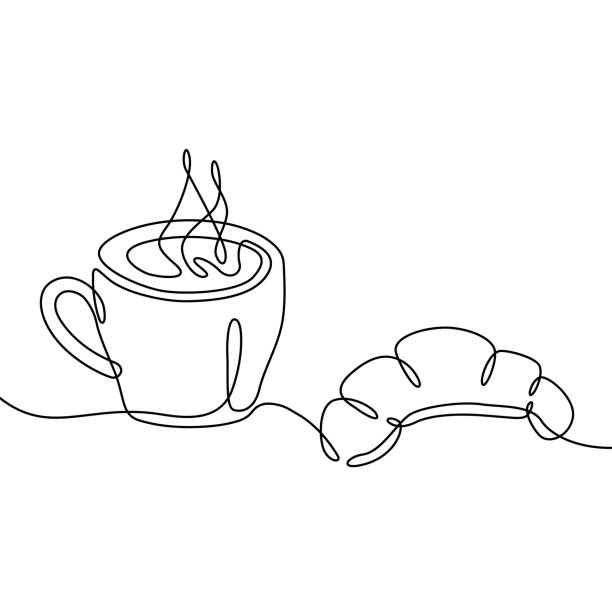 Coffee cup and croissant continuous one line drawing. Black and white sketch vector illustration. Coffee cup and croissant continuous one line drawing. Black and white sketch vector illustration. bread clipart stock illustrations
