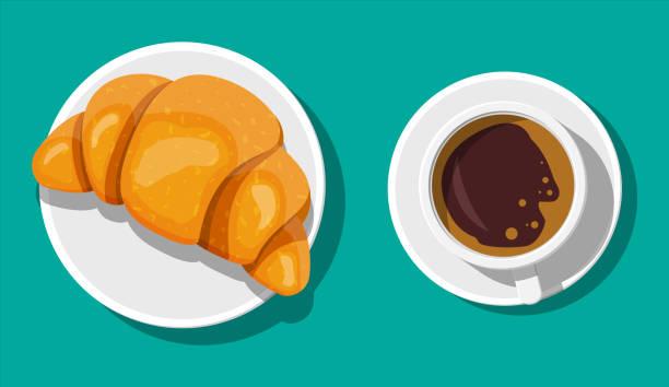 Kaffeetasse und französisches Croissant. – Vektorgrafik