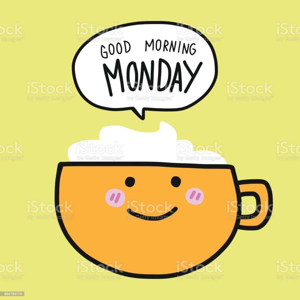 Kaffeetasse Und Guten Morgen Montag Wort Cartoonvektorillustration