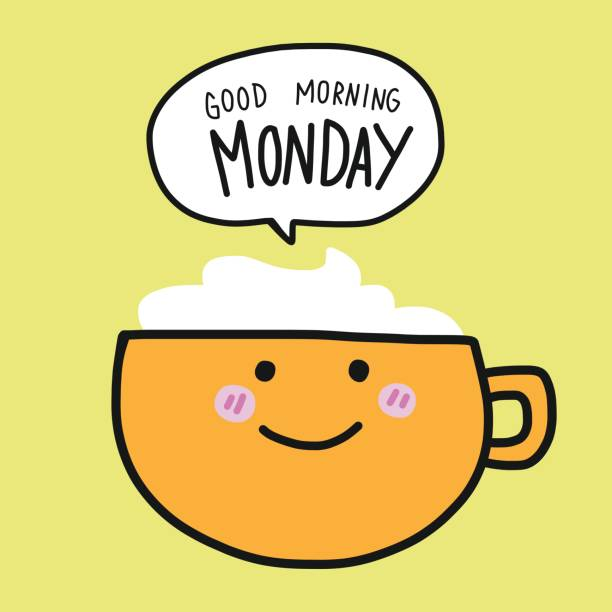 Coffee Cup And Good Morning Monday Word Cartoon Vector Illustration Art