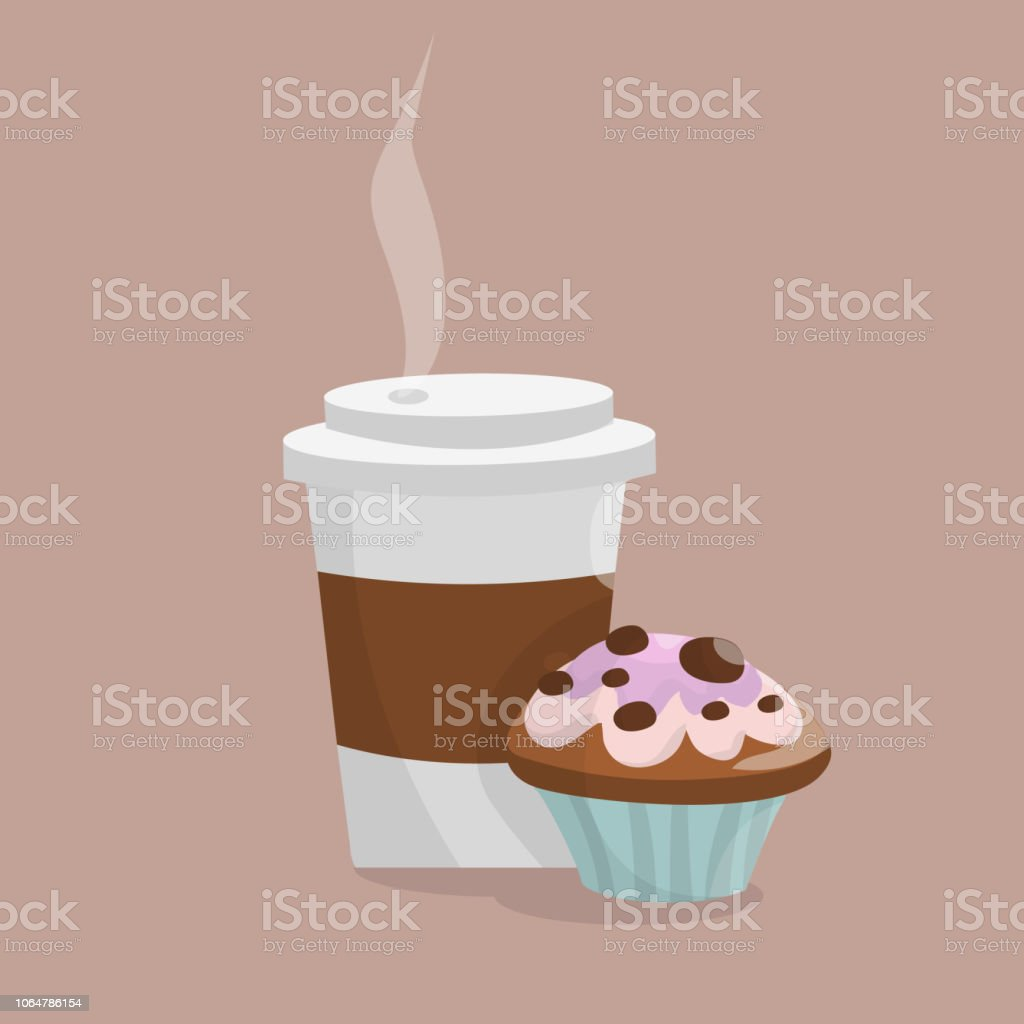 Coffee cup and muffin capcake vector art illustration